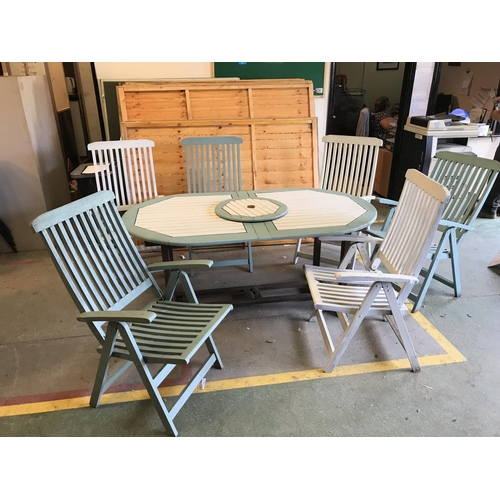 1A - Beautifully painted green and white sturdy wooden garden table garden table with lazy susan, six rec...