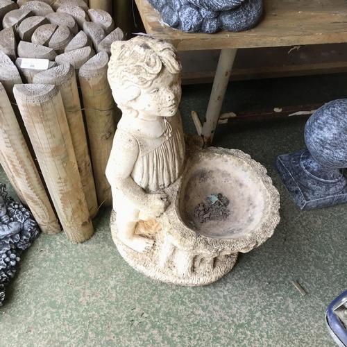 21 - Girl Sculpture Bird Bath Garden Statue Ornament...