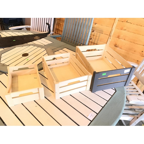 2A - Set of three part painted grey graduating garden crates....
