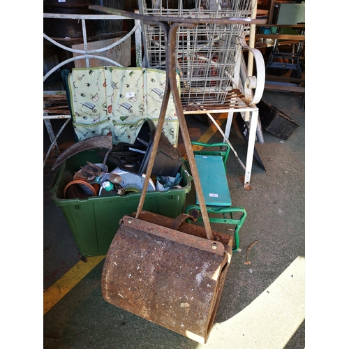 10 - Vintage cast iron garden roller...
