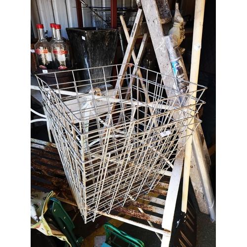 17 - Three weld mesh metal baskets...