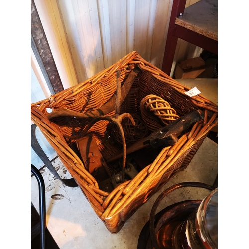 19 - Wicker basket with scaffold clips and tennon saw...