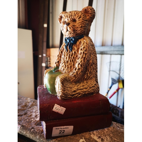 22 - Cast iron painted bear door stop...
