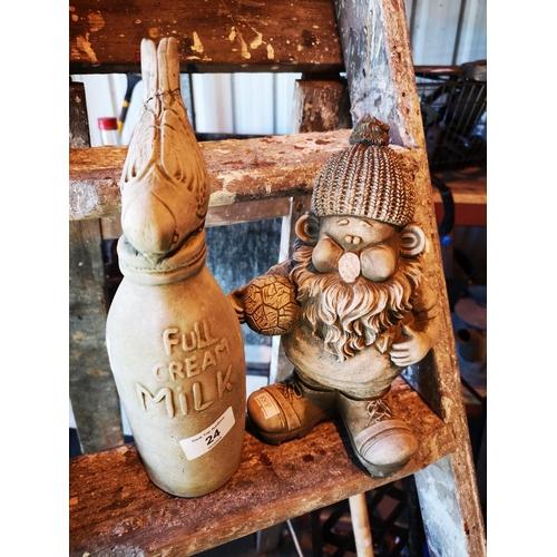 24 - Small gnome garden ornament and blue tit on milk bottle garden ornament...