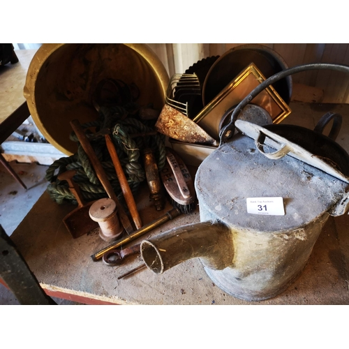 31 - Vintage galvanised watering can, ceramic planter , rope and brushes...
