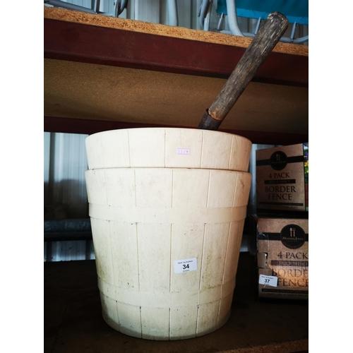 34 - Pair of cream barrel planters plus coal shovel...