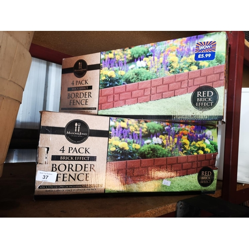 37 - Two x 4 pack  red brick effect garden edging approx 42cmWx17cmH...