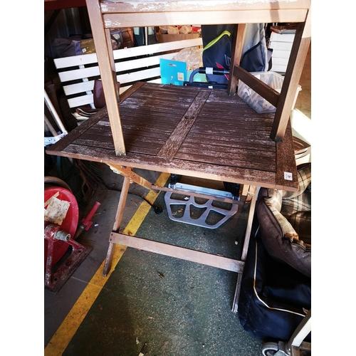 42 - Folding hardwood garden table 3' x 3' approx...