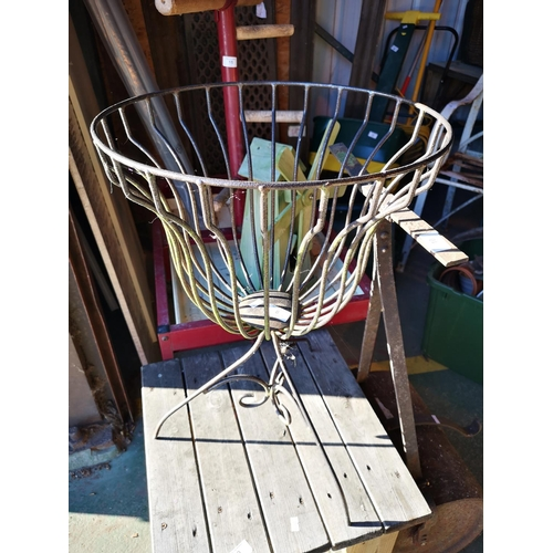 8 - Round wrought iron urn design plant stand approx 3' tall...
