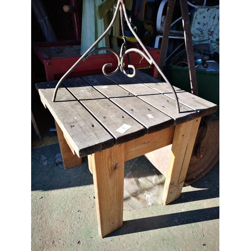 9 - Small rustic garden table approx 18'' square...