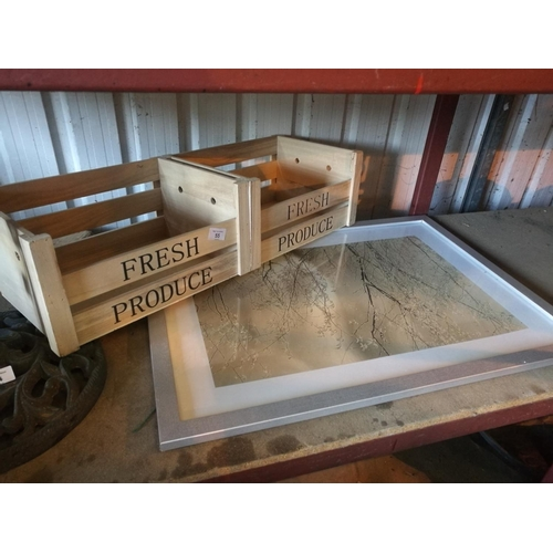 55 - Fresh produce double wooden storage crate and country scene picture...