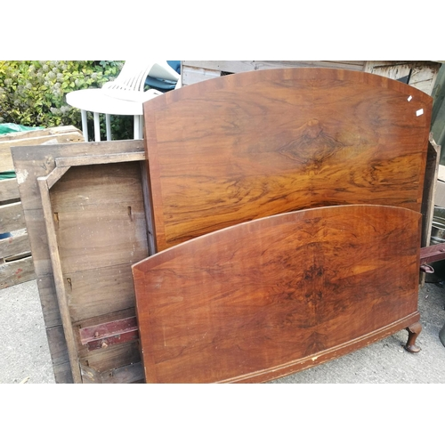 6 - 1940's walnut veneered double bed frame and table base for projects...