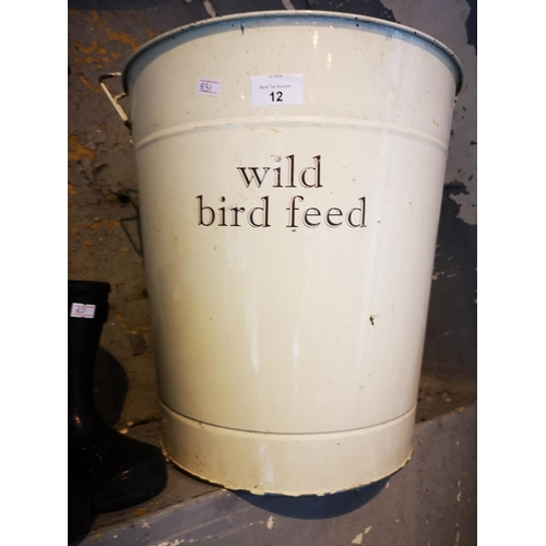 12 - Large enamelled birds feed bucket...