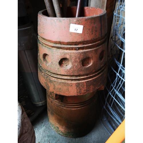 17 - Victorian terracotta short chimney pot planter...