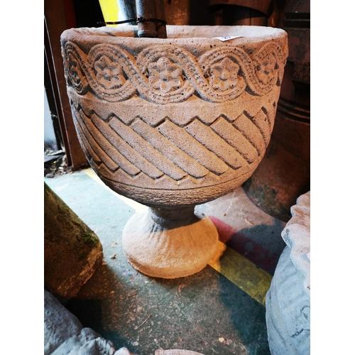 20 - Round Mayan urn planter with aztec markings...