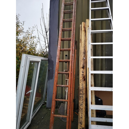 3 - Two stage 12' wooden step ladder...