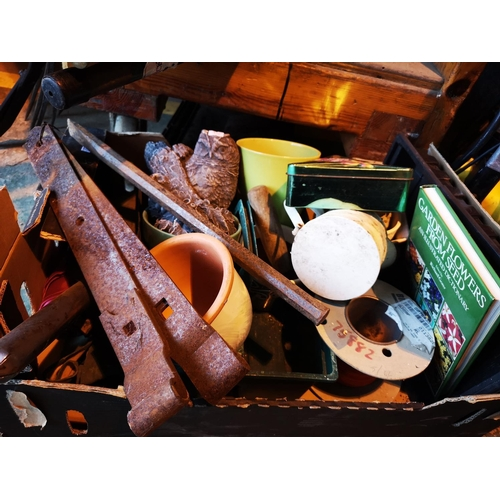 44 - Mixed lot of garden items inc owl ornament, hinges and planters...