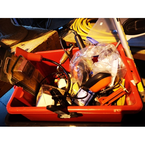 51 - Red tub with inspection lamp, carpenters brace, mastic gun and humbrol spray gun...