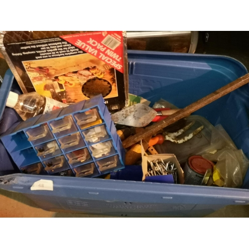 48 - Large blue tub with crowbar, storage drawers , screws and small hand tools...