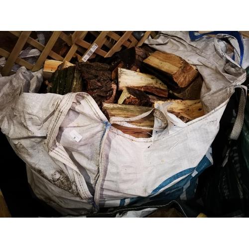 6 - Large industrial tote bag of split seasoned logs...
