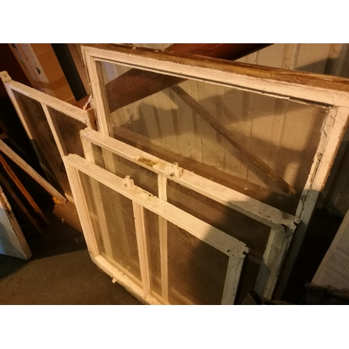 56 - Four vintage glazed sliding sash windows...
