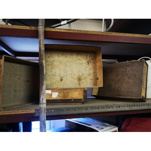14 - Four wooden tote trays approx 2' x 1' plus two white garden trugs...