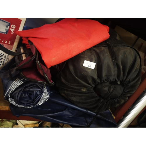 16 - Job lot of camping items two man tent and sleeping bags...