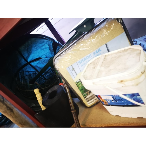 17 - Job lot to include shooting stick , roll of wire garden edging, 3 mtr shade sail, roll of dpc and fo...