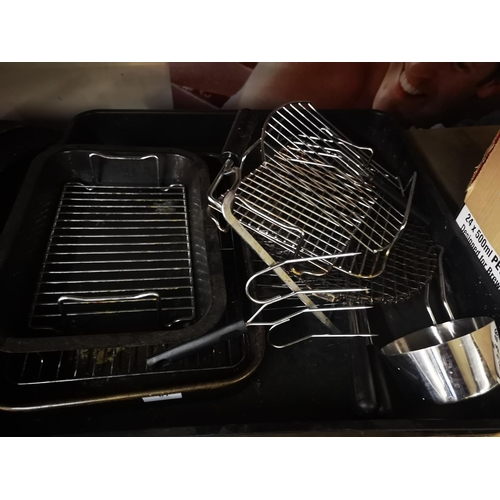 27 - Large plastic tray with roasting pans and bbq grills and tools...