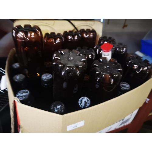 28 - Job lot of 24 500ml P.E.T beer bottles and caps...