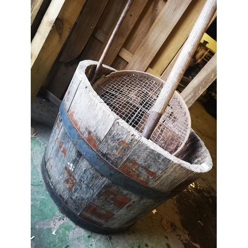 3 - Full size quarter barrel planter to include vintage pitchfork , sieve and wrought iron wall planter...