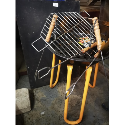 31 - Three foot  x 2 foot x 1/2 inch approx slate base plus round bbq with tools...