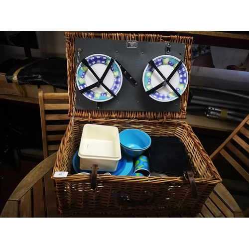 48 - Antler wicker picnic basket with contents good clean order...