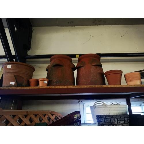 5 - Two large terracotta strawberry planter pots plus other terracotta plant pots...