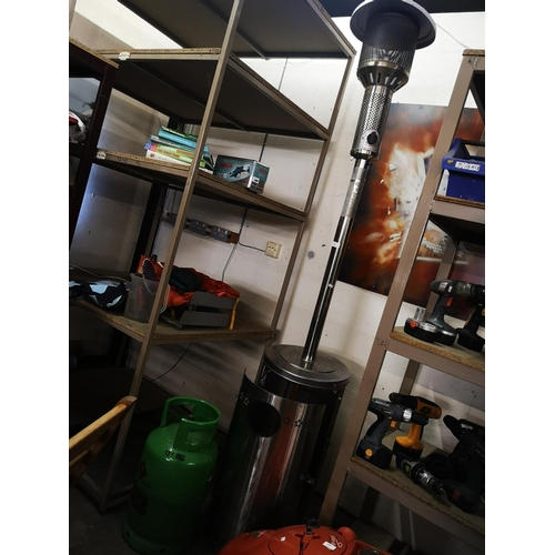 50 - Seven foot stainless steel patio heater with gas bottle in excellent order...
