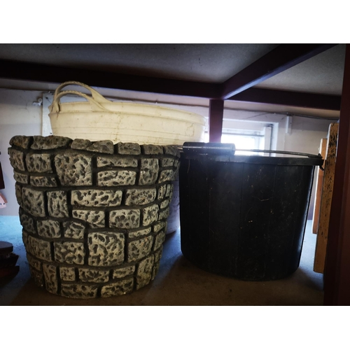 6A - Large white garden trugs, brick effect planter and bucket...