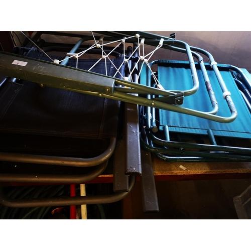 9 - Five folding garden chairs plus garden lounger...