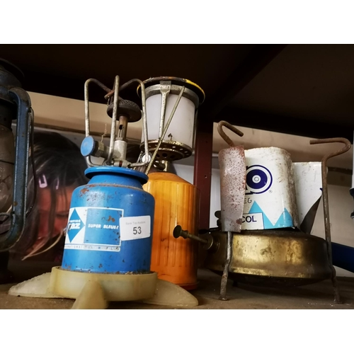 53 - Primus stove, camping gaz stove and gas lamp...