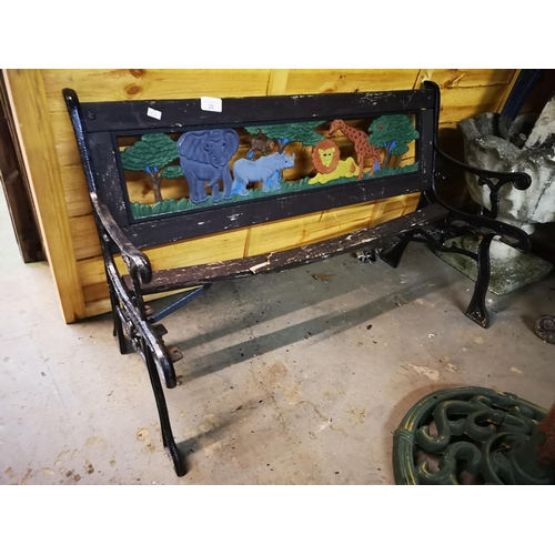 28 - Childs cast and wood garden bench - for renovation...