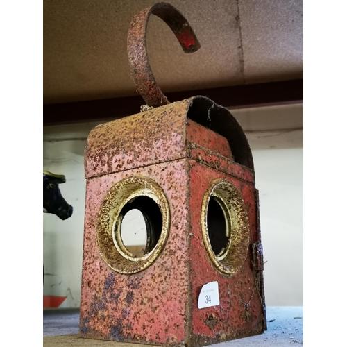 34 - Vintage praffin road warning lamp...