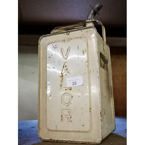 35 - Metal valor esso blue paraffin can...
