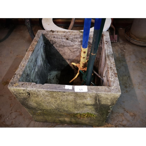 51 - Approx one foot cube concrete planter...