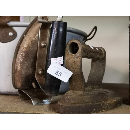 55 - Vintage electric iron and cast iron flat iron...