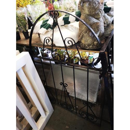 45 - Arch top wrought iron garden gate approx 3' x 4'...