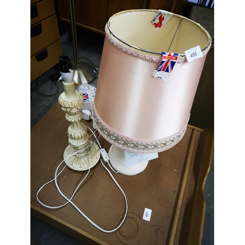 450 - Tall pillar table lamp and ceramic urn table lamp with shade...