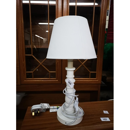 454 - White turned wood table lamp with shade...