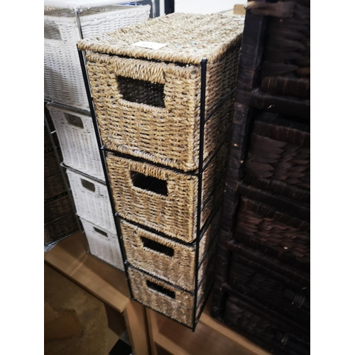 465 - Small four drawer metal and sea grass unit....