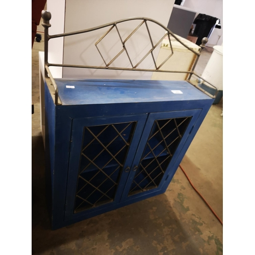 476 - Small blue rustic kitchen cabinet....