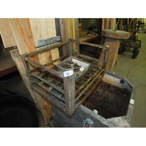 42 - Vintage metal milk crate...