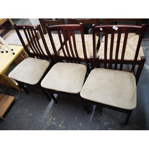 559 - Three 1970's padded dining chairs...